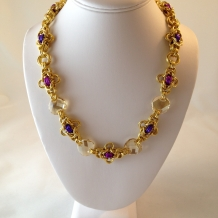 Amadeus necklace with golden crystals
